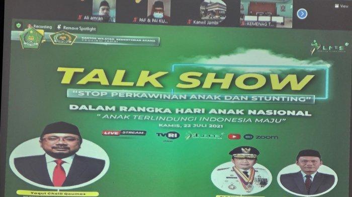 """Talk show berjudul """"Stop perkawinan anak dan Stunting"""" juga digelar secara daring"""