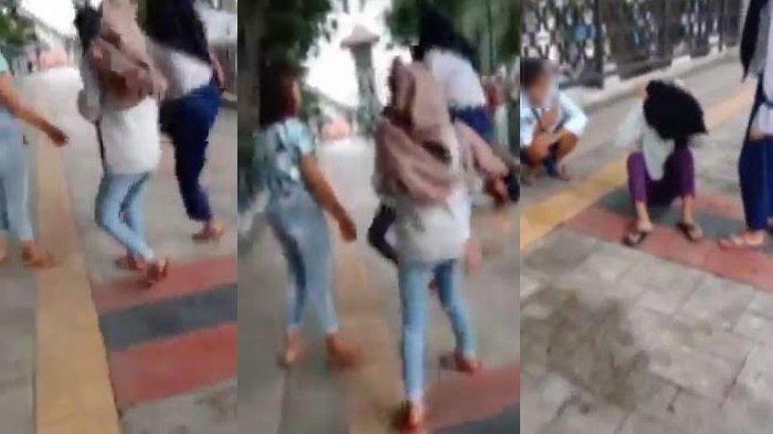 VIDEO 24 Detik, Remaja Putri Bully Temannya, Sampai Pukul Kepala Korban hingga Tendang hingga Jatuh