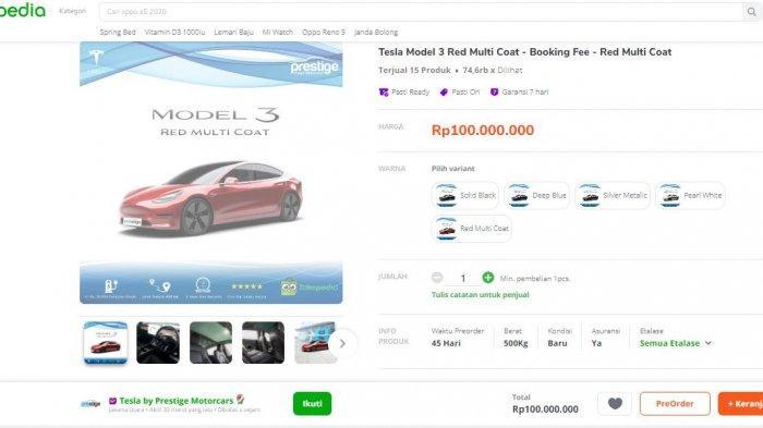 Tesla model 3 dijual di Tokopedia
