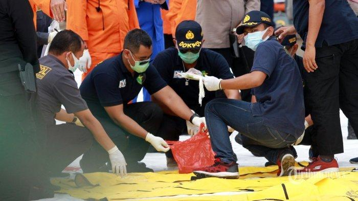 Tim Disaster Victim Identification (DVI) indetifikasi korban hasil pencarian TIM SAR di JICT, Tanjungpriuk, Jakarta Utara, Senin (11/1/2021).Total, Sejumlah korban meninggal dan 53 properti berupa pakaian korban, serpihan maupun pelampung milik pesawat SJ-182 berhasil ditemukan. (WARTAKOTA/Henry Lopulalan) (WARTAKOTA/Henry Lopulalan)