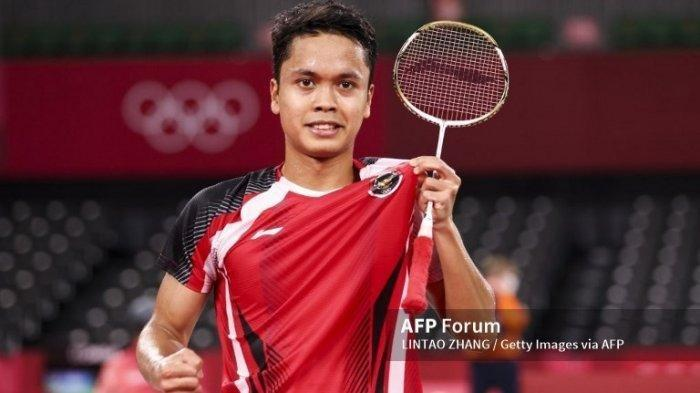 Tungal putra Indonesia, Anthony Sinisuka Ginting setelah menyelesaikan pertandingan Olimpiade Tokyo 2020