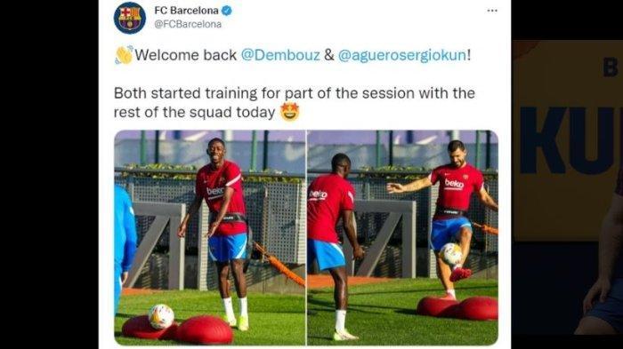 Twitter Barcelona memberikan kabar dua pemain andalan, Ousmane Dembele dan Sergio Ramos sudah mulai berlatih dengan tim