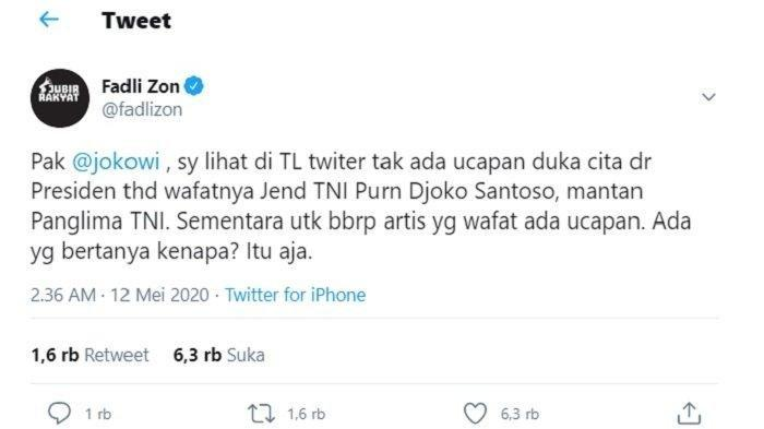 Fadli Zon menyindir Presiden Jokowi soal ucapan duka untuk almarhum Mantan Panglima TNI, Jenderal (Purn) Djoko Santoso.