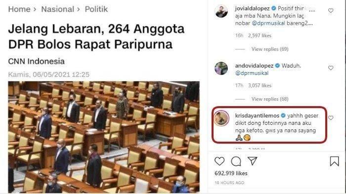 Krisdayanti Beri Jawaban Menohok ke Najwa Shihab Usai Posting Foto Paripurna: Kok Aku Nggk Keliatan