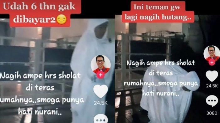 Viral video 6 tahun utang tak dibayar, wanita ini rela sholat depan rumah si penghutang (Tiktok)