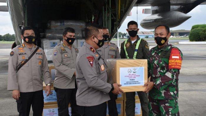 Wakapolda Jambi, Brigjen Pol. Yudawan R melepas bantuan sosial (Bansos) Polda Jambi Peduli Bencana Gempa Bumi di Sulawesi Barat (Sulbar) dan Banjir di Kalimantan Selatan (Kalsel).