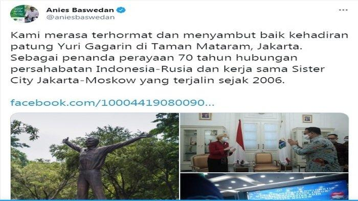 Yuri Gagarin Trending Topic, Anies Baswedan Pamer Patungnya, Netizen: Bukankah itu Komunis?