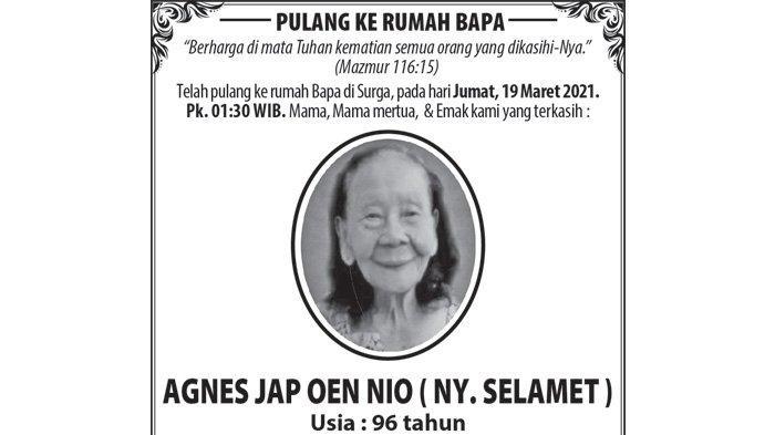Berita Duka, Agnes Jap Oen Nio (Ny Selamet) Meninggal Dunia di Semarang