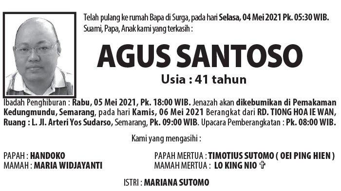 Berita Duka, Agus Santoso Meninggal Dunia di Semarang