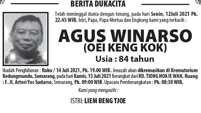 Berita Duka, Agus Winarso (Oei Keng Kok) Meninggal di Semarang