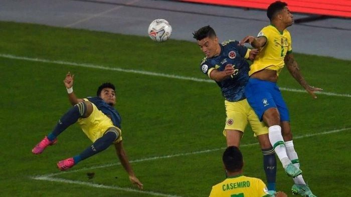 Cuplikan Gol Brasil vs Kolombia, Lesatan Salto Los Cafeteros Tak Mampu Menandingi Sundulan Tim Samba
