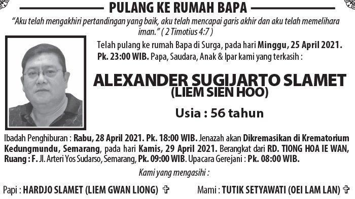 Berita Duka, Alexander Sugijarto Slamet (Liem Sien Hoo) Meninggal Dunia di Semarang