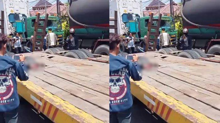 Anak punk di Brebes tewas mengenaskan terjepit ban belakang truk kontainer, Minggu (21/3/2021).