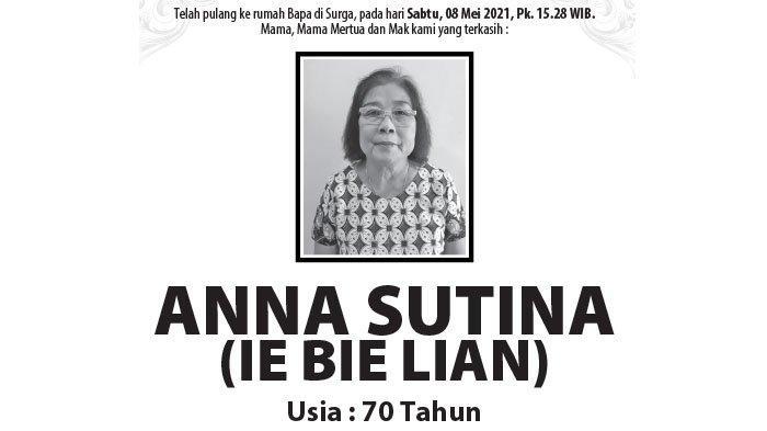Berita Duka, Anna Sutina (Ie Bie Lian) Meninggal Dunia di Semarang
