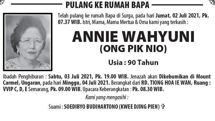 Berita Duka, Annie Wahyuni (Ong Pik Nio) Meninggal Dunia di Semarang