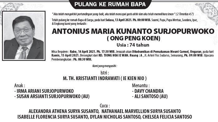 Berita Duka, Antonius Maria Kunanto Surjopurwoko  (Ong Peng Koen) Meninggal di Semarang