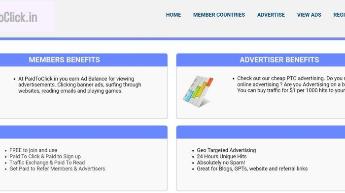 Aplikasi Penghasil Uang Paid To Click.In, Klik Iklan Dapat Duit