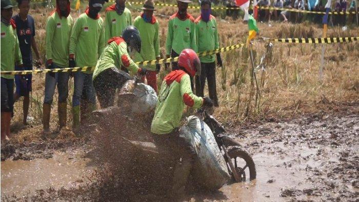 Suasana keseruan balam motor gabah di tengah sawah di tengah sawah dukuh Pungangan, desa Tegalsari, kecamatan Kandeman, Kabupaten Batang, Minggu (12/9/2021).