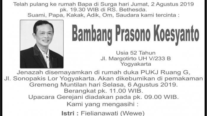 Berita Duka, Bambang Prasono Koesyanto Meninggal Dunia di Yogyakarta