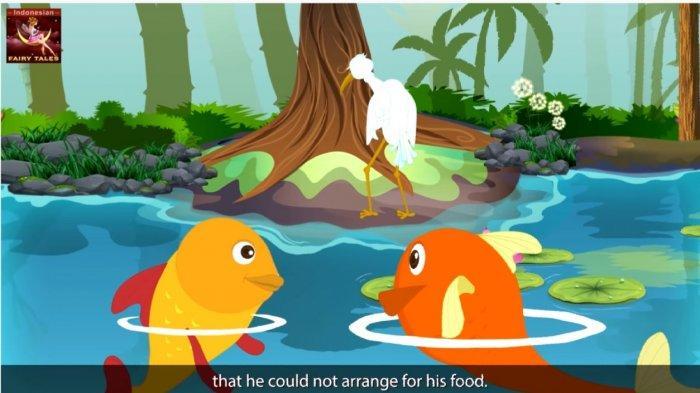 Bangau Tua tak bisa menangkap ikan dalam dongeng Bangau dan Kepiting