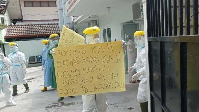 Nakes RSUD dr Pirngadi Medan Unjuk Rasa: Tolong Bayarkan Gaji Covid-19 Kami!