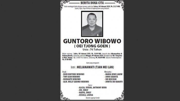 Berita Duka, Guntoro Wibowo (Oei Tjong Goen) Meninggal di Semarang