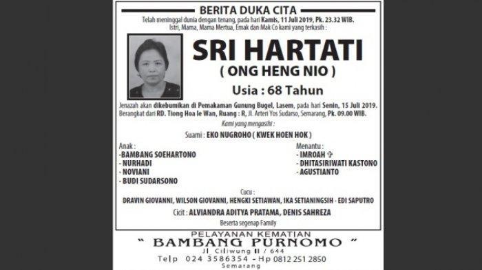 Berita Duka, Sri Hartati (Ong Heng Nio) Meninggal Dunia di Semarang