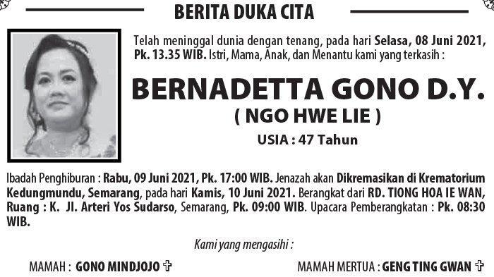 Kabar Duka, Bernadetta Gono DY (Ngo Hwe Lie) Meninggal di Semarang