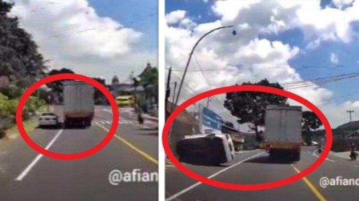 Detik-detik BMW Terguling Setelah Salip Truk dari Kiri di Jalan Raya Ambarawa Magelang