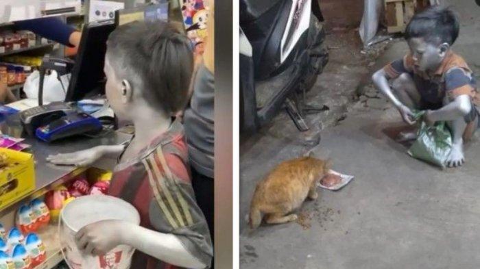 Viral Bagas Bocah Manusia Silver Selalu Sisihkan Uang Hasil Ngamen Untuk Beri Makan Kucing