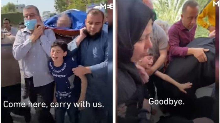 Bocah Palestina Kejar Jenazah Ayahnya yang Jadi Korban Serangan Israel, Selamat Tinggal Ayah