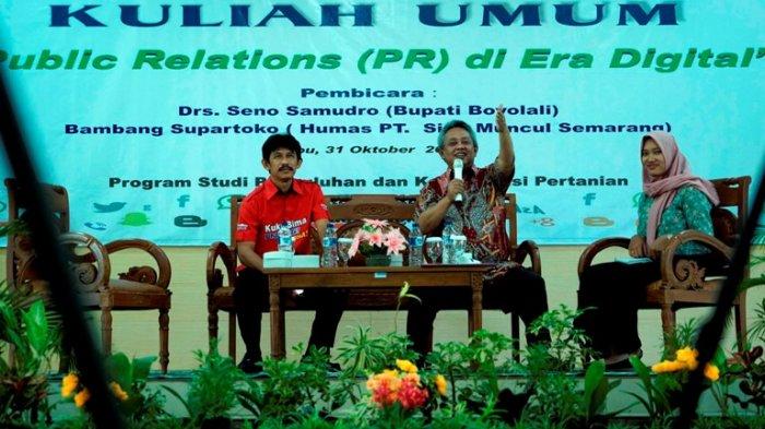 Bupati Seno Samodro Beri Kuliah Umum Tentang Kemajuan Teknologi di Fakultas Pertanian UNS