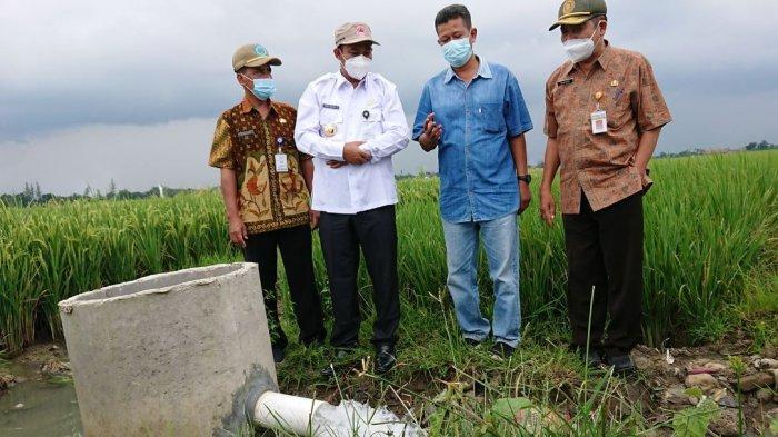 Bupati Pemalang Mukti Agung Wibowo, bersama Wakil Bupati Pemalang Mansur Hidayat, saat meninjau irigasi areal persawahan di Kecamatan Petarukan, beberapa waktu lalu.