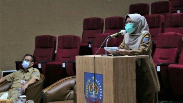 Bupati Tegal Umi Azizah saat menggelar Rapat Koordinasi Ekspose Draf Laporan Keterangan Pertanggung Jawaban (LKPJ) Bupati Tegal Tahun 2020, Selasa (9/3/2021) lalu di Gedung Dadali.