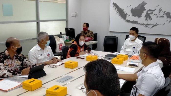 Rombongan Pemerintah Kabupaten Purbalingga yang dipimpin oleh Bupati Dyah Hayuning Pratiwi saat berkunjung ke Direktorat Jenderal Perdagangan Dalam Negeri (PDN) Kementerian Perdagangan (Kemendag), pada Rabu (3/2/2021).