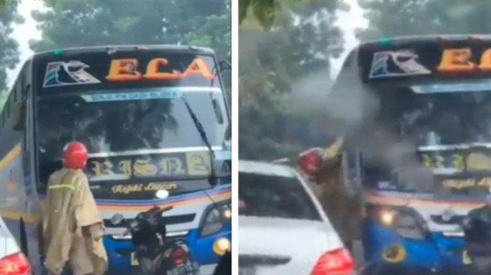 Viral Pemotor Hadang Bus Rela di Sragen, Diduga Sopir Bus Ngeblong
