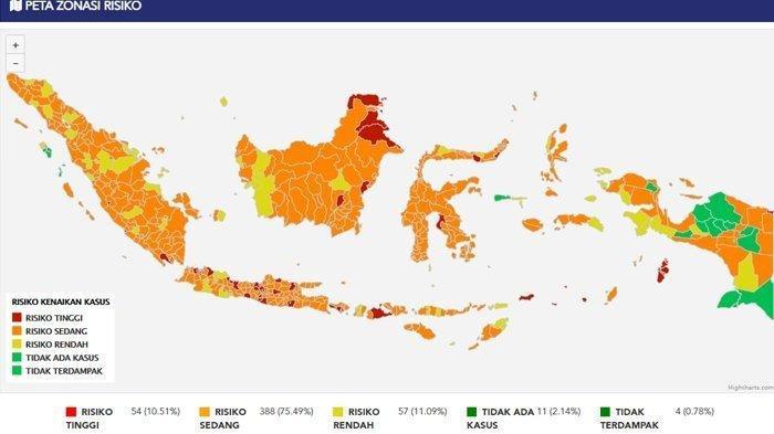 Covid19 memberikan laporan terbaru terkait peta zonasi risiko penyebaran virus corona