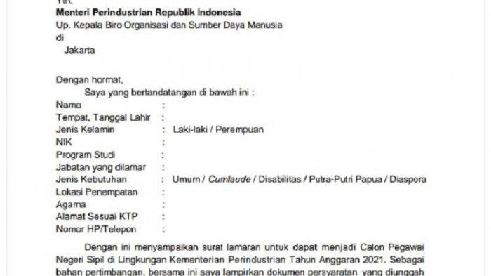 Surat Lamaran CPNS Tahun 2021