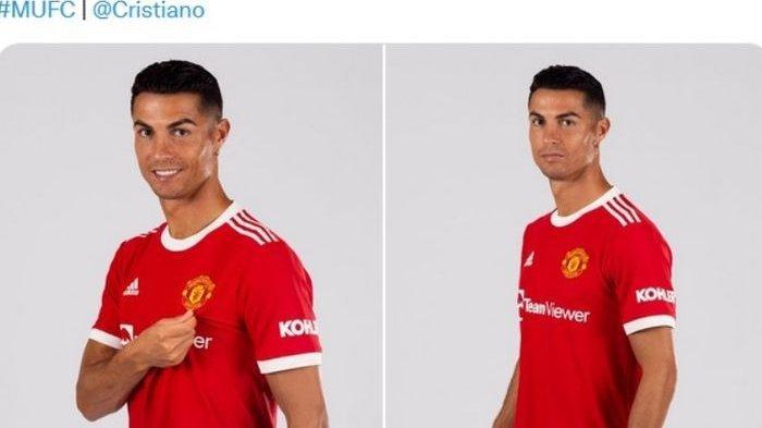 Cristiano Ronaldo dalam balutan seragam Manchester United.