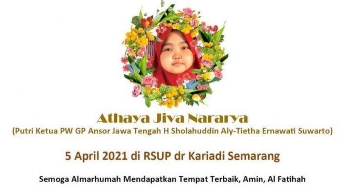 Innalillahi Wa Innailaihi Rojiun, Athaya Jiva Nararya Meninggal Dunia di RSUP Kariadi Semarang