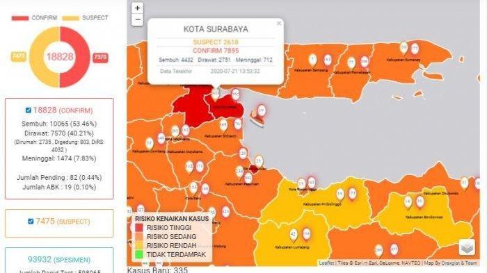 Update Corona di Surabaya dan Jatim 22 Juli: Zona Merah Masih Ada di 3 Wilayah