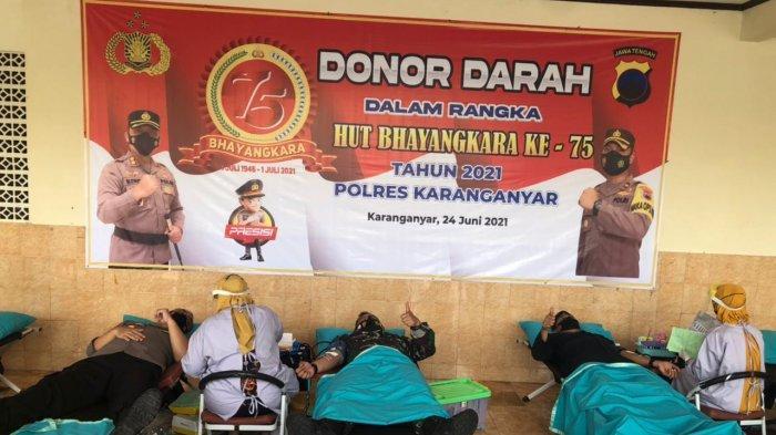 Polres Karanganyar Bikin Donor Darah HUT ke-75 Bhayangkara