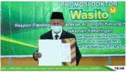 Dr. Wasito, MP. lulusan ke-6 Program Doktor Ilmu Pertanian Unsoed Purwokerto