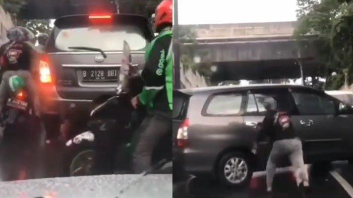 Viral di Medsos Video Driver Ojek Online Lempari Batu Mobil Innova Abu-abu, Ini Jawaban Polisi