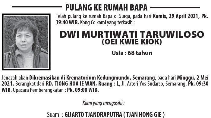 Berita Duka, Dwi Murtiwati Taruwiloso (Oei Kwie Kiok) Meninggal Dunia di Semarang