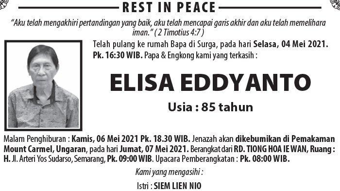 Kabar Duka, Elisa Eddyanto Meninggal di Semarang