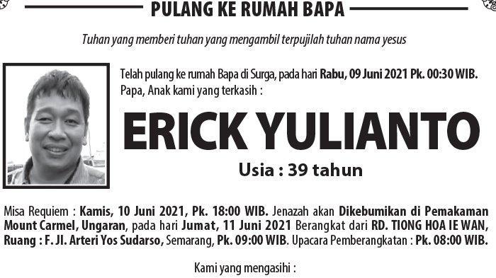 Berita Duka, Erick Yulianto Meninggal Dunia di Semarang