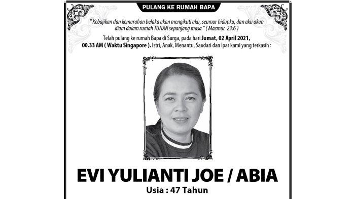 Berita Duka, Evi Yulianti Joe Meninggal Dunia di Singapore