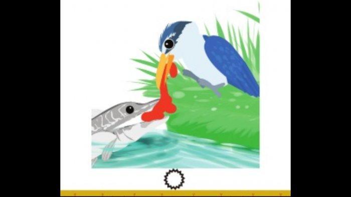 Fabel Burung Udang dan Ikan Toman