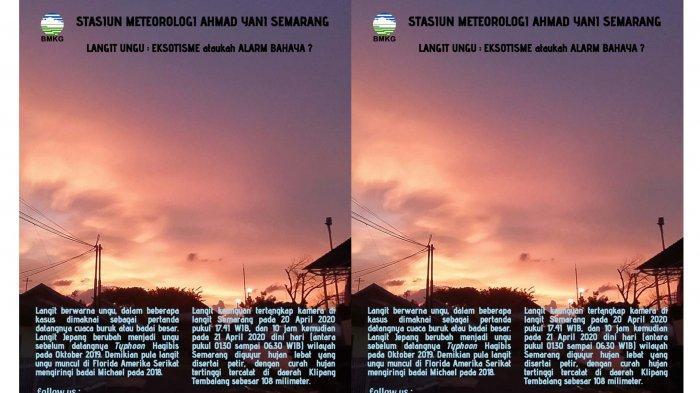 Fenomena Alam Langit Berwarna Ungu di Semarang, Eksotisme Atau Alarm Bahaya? Ini Jawaban BMKG
